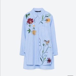 Zara Blue Embroidered Poplin Striped Shirt